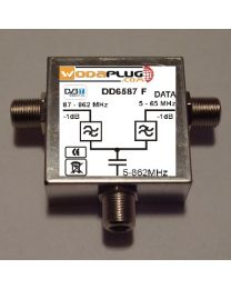 Wodaplug data passing thru Diplex filter 6587 3*F connectors, data / TV (DVBT)