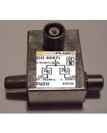 Wodaplug data passing thru Diplex filter 6587i 1*F+2*IEC connectors, data / TV (DVBT)